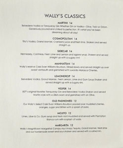 Wally's Cocktail List