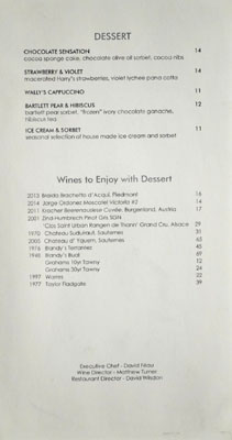 Wally's Dessert Menu
