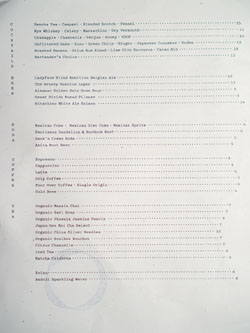 Otium Cocktail & Beer List