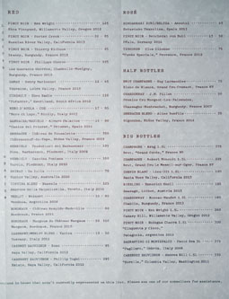 Otium Wine List