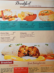 Puertos del Pacifico Menu: Breakfast