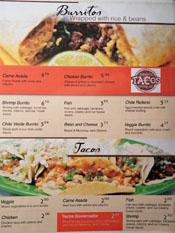 Puertos del Pacifico Menu: Burritos & Tacos