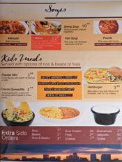 Puertos del Pacifico Menu: Soups & Kids Meals