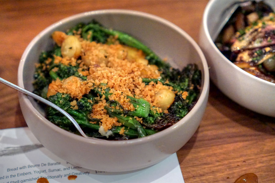 Broccolini, Smoked Fingerling Potatoes, Lemon-Rosemary Bread Crumbs, and Chili Oil