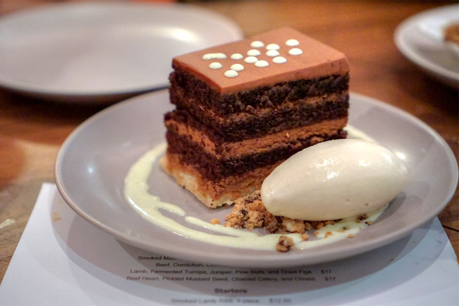 Chocolate Peanut Butter Crunch Cake, with Valrhona Dulcey Chocolate Ice Cream