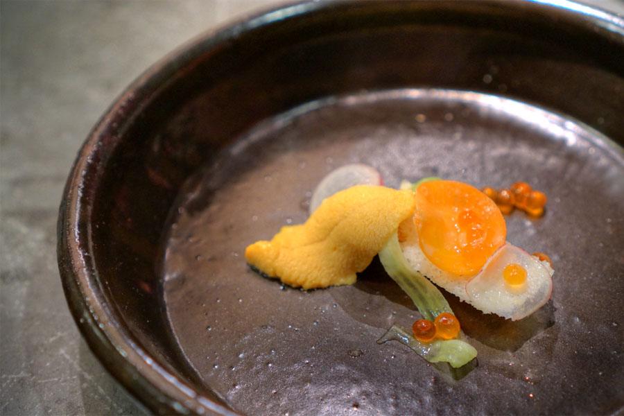 Foie Gras, Crudité, Carrot, Lemon, Salmon Roe, Uni