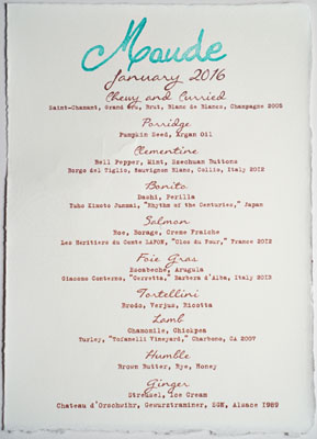 Maude Menu: Carrots, January 2016