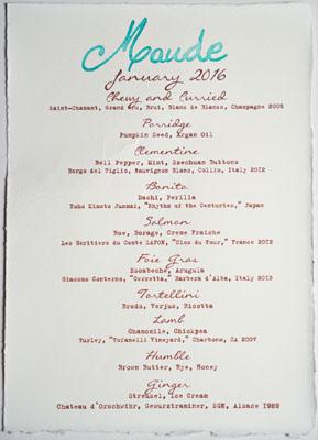 Maude Menu: Carrots, January 2016