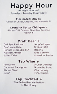 The Bellwether Happy Hour Menu