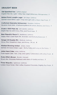 The Bellwether Draught Beer List