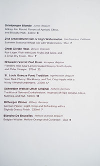The Bellwether Bottled Beer List