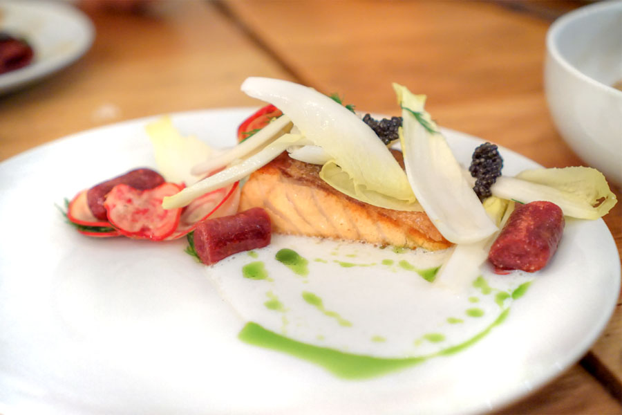 salmon with beet gnocchi, caviar, endive, buttermilk vinaigrette, and dill