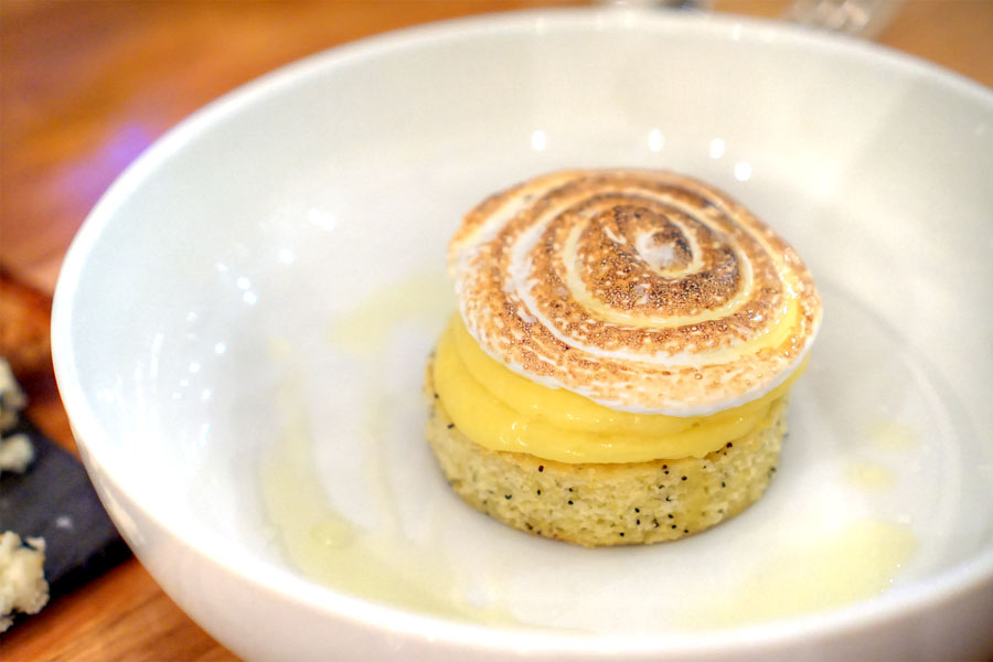 cornmeal poppy seed cake with lemon curd, and meringue