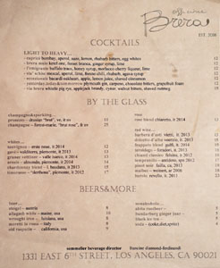 Officine Brera Cocktail/Wines by the Glass/Beer List