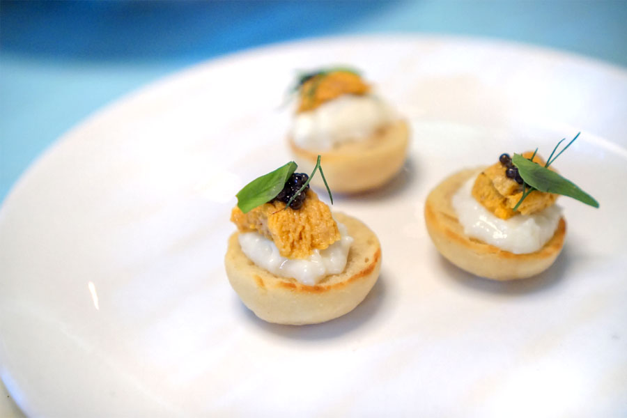 english muffins, uni, burrata & caviar