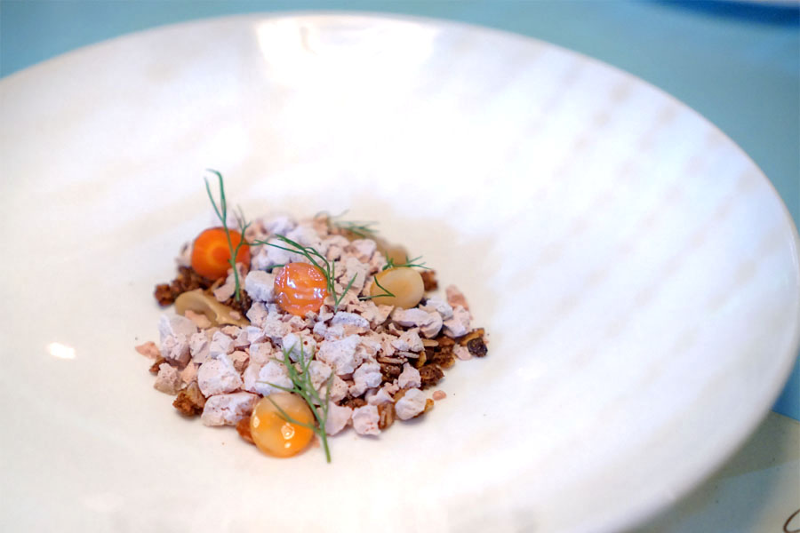 frozen foie gras with smoked maple, coffee granola & carrots