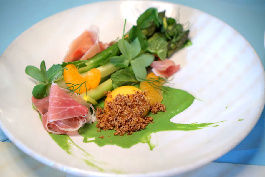 asparagus with country ham, mint and egg yolk