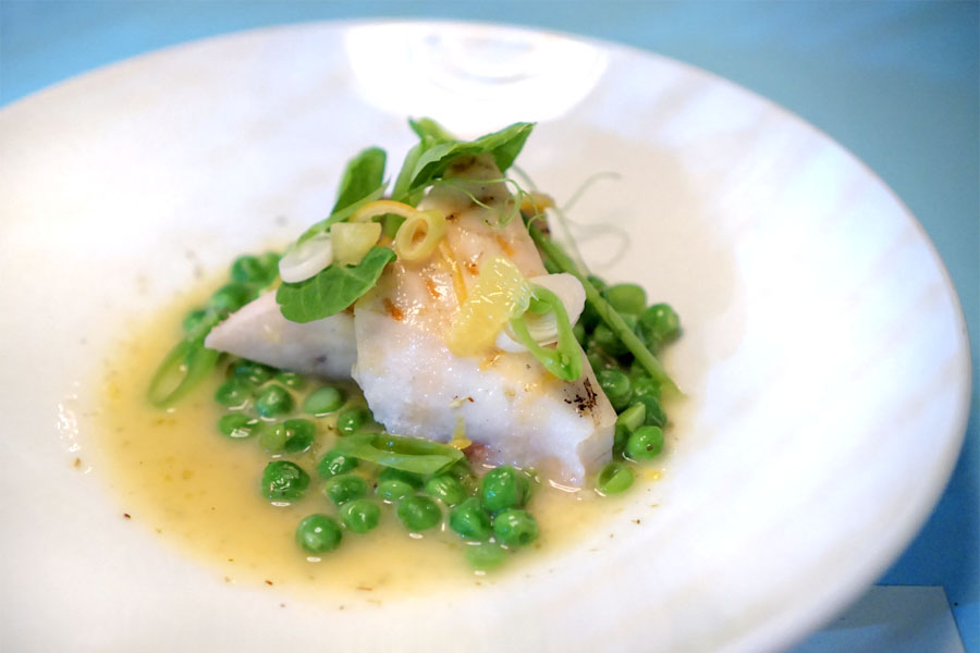 grilled swordfish with peas, chamomile, spring garlic and Meyer lemon