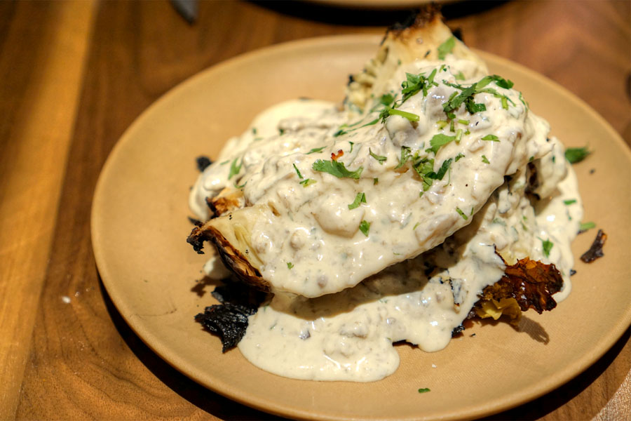 Half Rotisserie Cabbage with Pickled Mushroom Yogurt