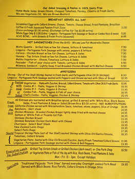 Cafe Brasil Menu: Breakfast / Appetizers / Pastas / Grill / Executive Lunch / Specialty