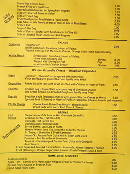 Cafe Brasil Menu: Side Orders / Salads / Empanadas / Drinks / Desserts