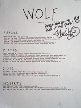 Wolf Menu