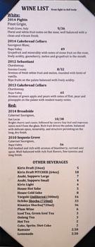 Sushi Noguchi Menu: Wine List
