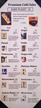 Sushi Noguchi Menu: Sake List