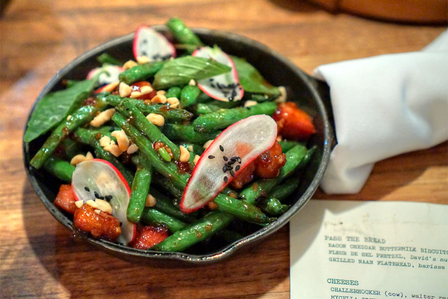 Blistering Blue Lake green beans, Thai basil, chili sauce, crispy pork