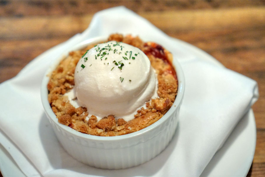 WARM STRAWBERRY & RHUBARB COBBLER