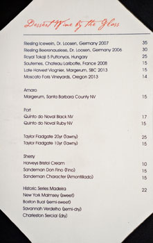 Crustacean Dessert Wine List