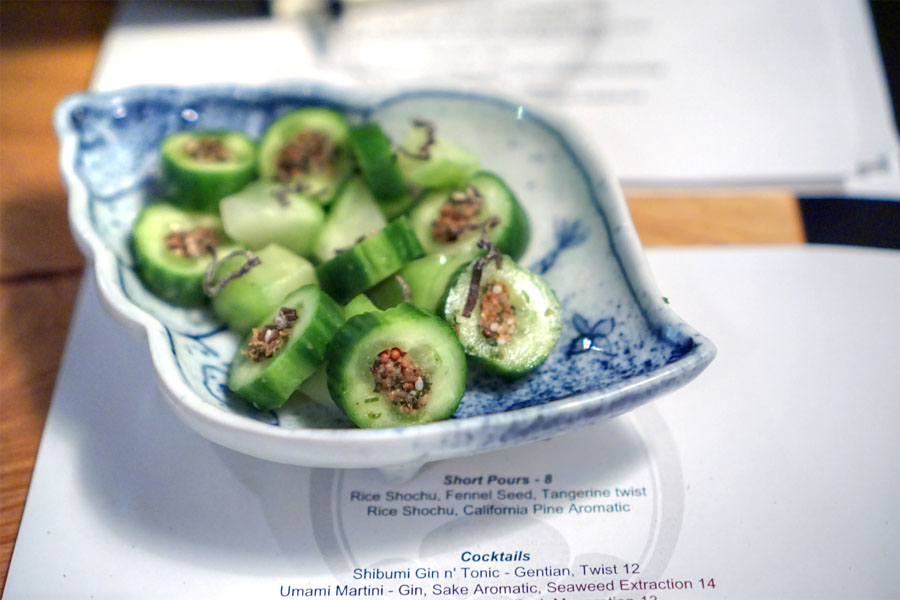 cucumbers stuffed with shiso leaf, seeds, umeboshi and bonito