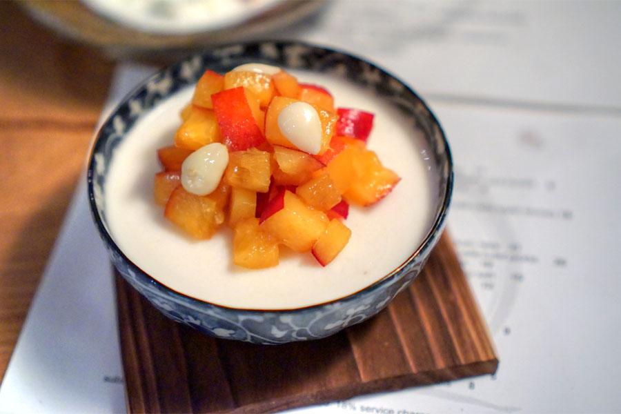chilled apricot seed tofu, apricots