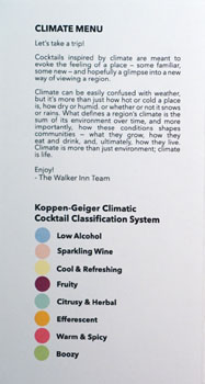 The Walker Inn Cocktail Menu: Climate