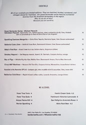 Baldoria Cocktail List