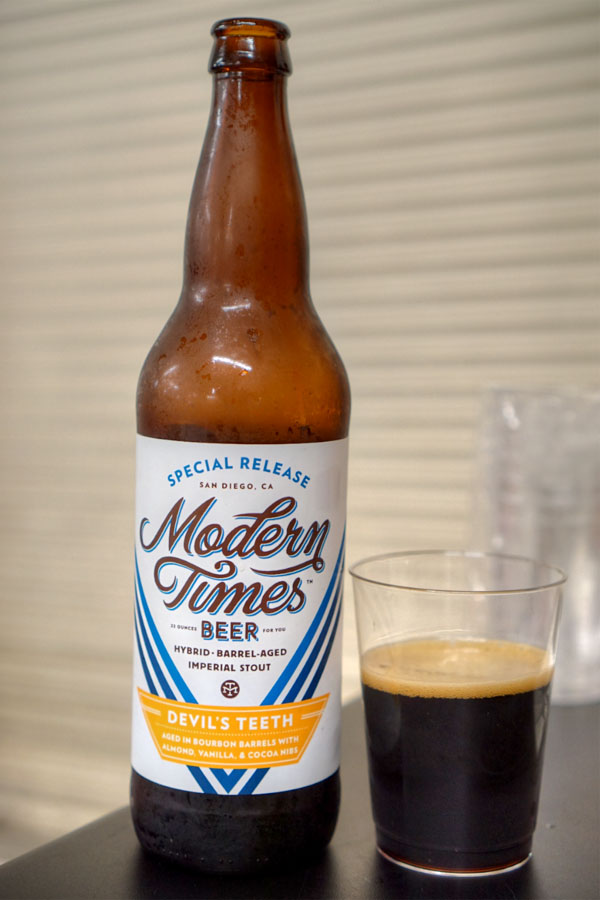 2016 Modern Times Devil's Teeth aged in Bourbon Barrels with Almond, Vanilla & Cocoa Nibs