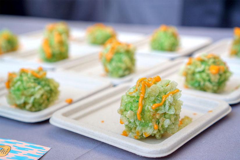 Crispy tofu balls, sriracha aioli