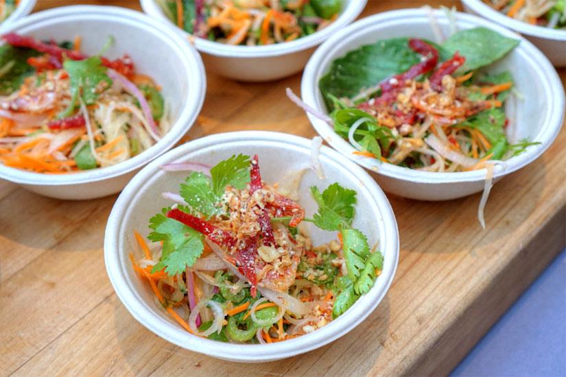 'Goi Du Du' papaya salad, Viet jerky, herbs, candied shrimp, nuoc cham