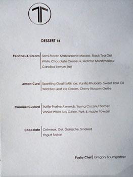 71Above Dessert Menu