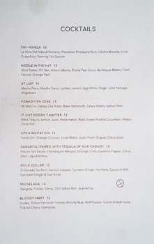 Winsome Cocktail List