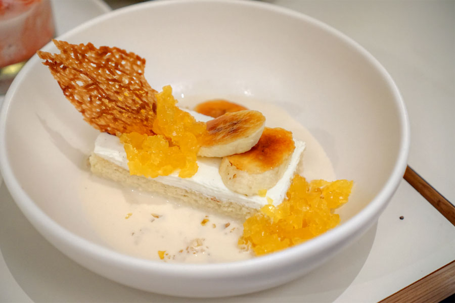 Banana Rum Tres Leches, Passion Fruit Gelée, Brûléed Banana