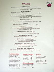 Moles La Tia Menu: Botanas, Bebidas, Sábado y Domingo, Postres