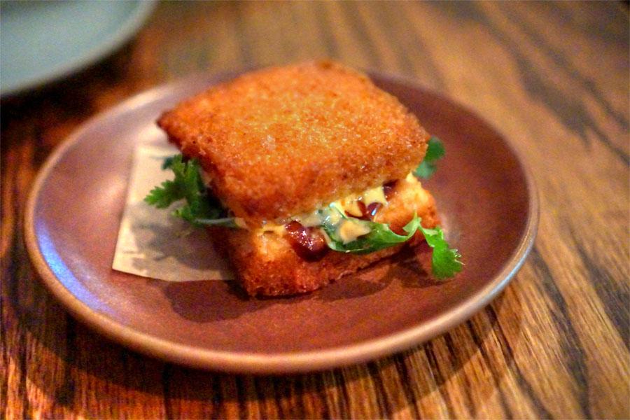 Shrimp Toast Sandwich, Hoisin, Herbs, Sriracha Mayo