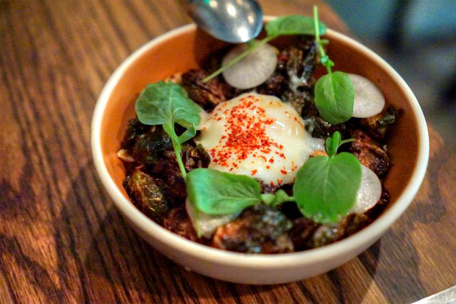 Crispy Brussels Sprouts, Turnip, Cinnamon, Peanut, Egg