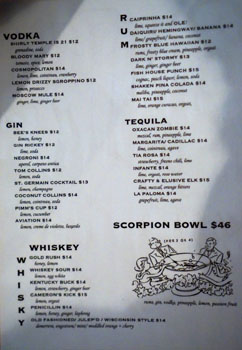 Son of a Gun Cocktail List