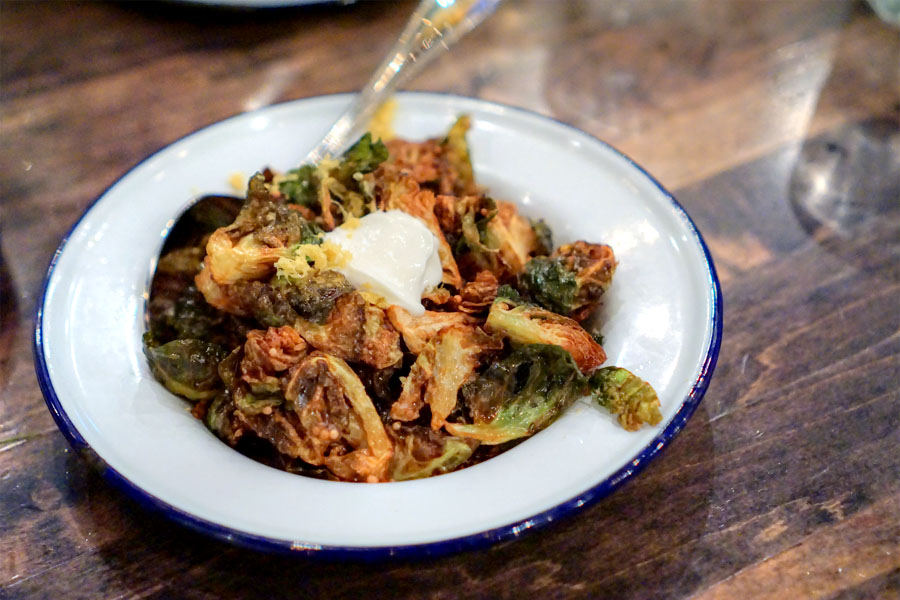 Crispy Brussels Sprouts [$10.00] | lemon, whipped goat cheese, pickled ...