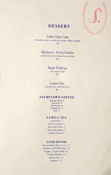 Sawyer Dessert Menu