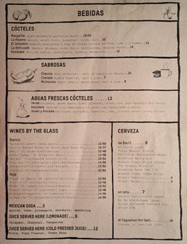 Salazar Beverage List
