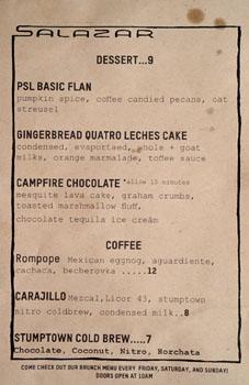 Salazar Dessert Menu