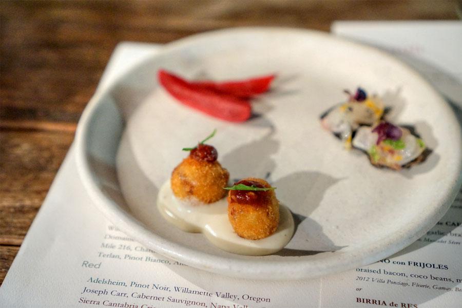Pork Trotter Milanesa / Japanese Seabass / Hibiscus Pickled Radish
